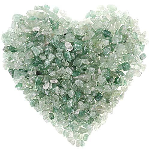 Hilitchi Quarzsteine, Trommelsteine, zerkleinerter Kristall, natürliche Steine, Heilung, Zuhause, dekorativer Kies, Feng Shui-Heilsteine (ca. 450 g)/Beutel) (grüner Erdbeerquarz)