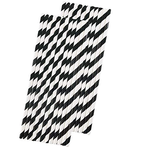 Stripe Paper Straws - Black White - 7.75 Inches - Pack of 50
