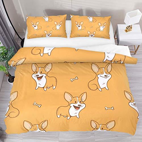 MUMIMI Set copripiumino decorativo con 2 federe per cuscino, 3 pezzi, cane Husky, 4 misure