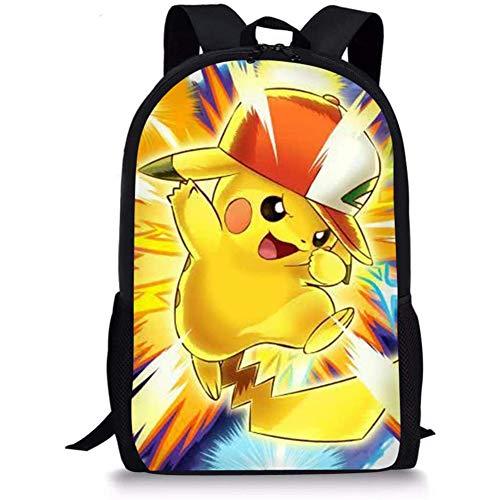 UFDIS Schulrucksack, 3-in-1, Büchertasche, Pikachu, Anime-Druck, verstellbarer Rucksack für Kinder, Jungen, Mädchen, Schultasche, Pikachu-Rucksack (Gelb) - UF-CDWX11CGK