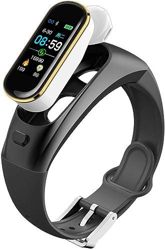 WFDLIU Trackers D'activité, Moniteur De Couleur TFT De 0,96 Pouce, Bracelet bleutooth 2-en-1, avec Montre Cardiofréquencemètre, Bracelet De Remise en Forme Tactile étanche,2
