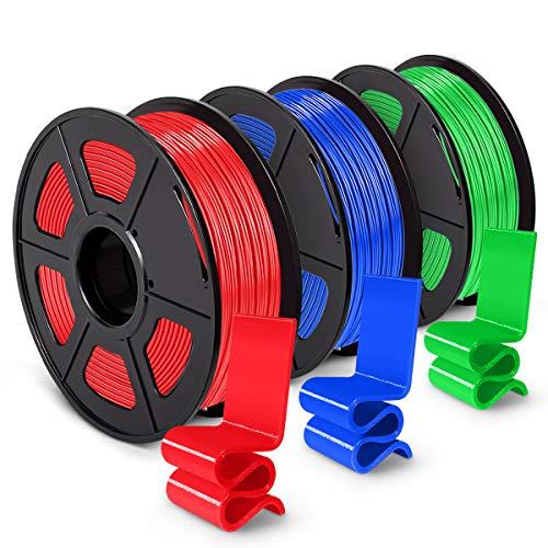 PETG 3D Printer Filament 1.75mm, SUNLU PETG Filament, Dimensional Accuracy +/- 0.02 mm, 1 kg Spool, Pack of 3, Red+Blue+Green