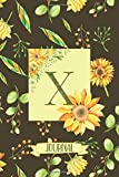X Journal: Sunflowers Notebook Monogram Initial X Blank Lined Journal | Decorated Interior