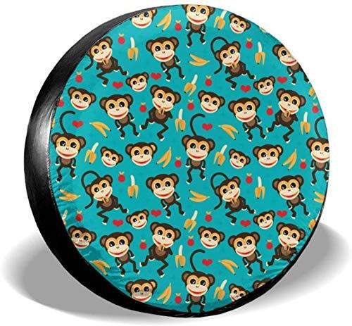 MODORSAN Monkey Love Banana - Cubiertas universales de poliéster para Llantas de Rueda de Repuesto para Jeep, Remolque, RV, SUV, camión, Accesorios, 16 Pulgadas