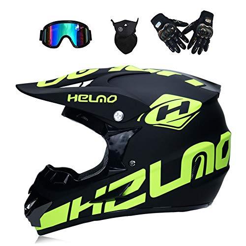 WenYan Motos Motocross Cascos y Guantes y Gafas estándar para niños ATV Quad Bicicleta go Casco de Kart,S(52~53cm)