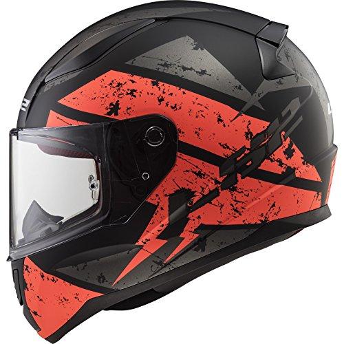 LS2 Casco de moto RAPID DEADBOLT MAT Negro Naranja, Negro/Oroange, L