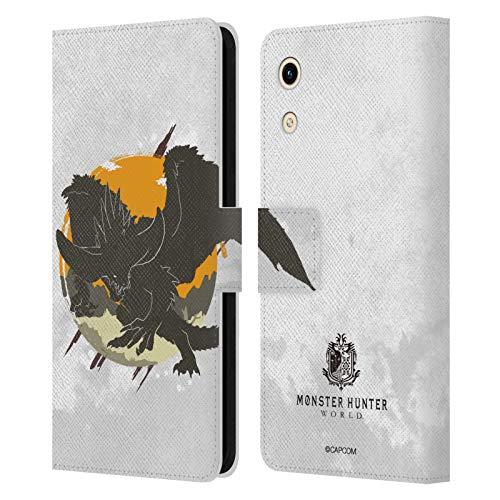 Head Hülle Designs Offizielle Monster Hunter World Nergigante Silhouetten Leder Brieftaschen Handyhülle Hülle Huelle kompatibel mit Huawei Honor Play 8A