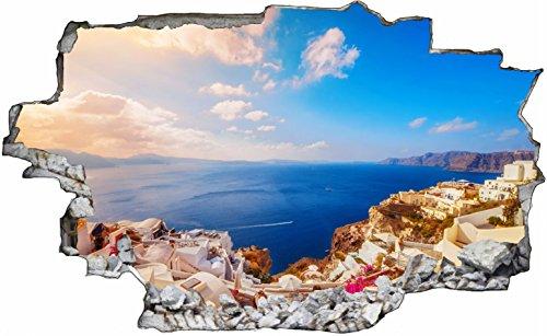 DesFoli Urlaub Meer Santorin Griechenland 3D Look Wandtattoo 70 x 115 cm Wanddurchbruch Wandbild Sticker Aufkleber C271