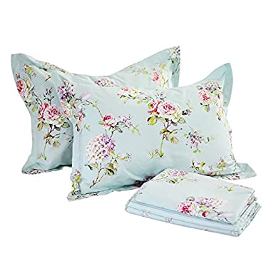 FADFAY 4-Piece Blue Floral Print Bed Sheet Set Cotton Bed Sheets Deep Pocket, Queen