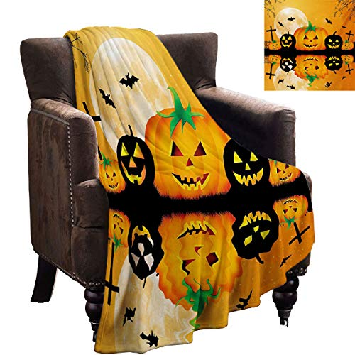 Baby Blankets for Girls - Halloween,Spooky Carved Halloween Jack o Lantern and Full Moon with Bats and Grave Lake,Orange Black - Fun Throwing Blanket Gifts 70'x60'