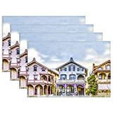 Yilooom Victorian House Row Placemats Set of 4, Victorian House Row Canvas Table Mats Washable Fabric Placemats for Kitchen Dining Table Decoration 12 X 18 Inches4