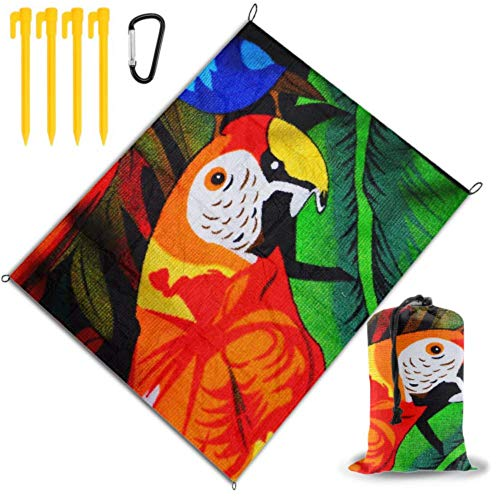 Grande couverture de pique-nique Parrot Ara Red Bird Towel Bath Towel Colorful Summer Picnic Blanket 67 X 57 In (170 X 145 Cm) imperméable et séchage rapide pour les voyages, le camping, la randonnée