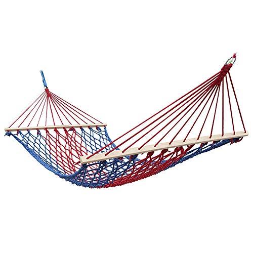 Gycdwjh Hängematte aus Baumwolle,Hautfreundliche Doppelhängematte Tuch-Hängematte Belastbar bis 150 kg Komfortable Faltbare Camping Hängematte Schaukel Net Stuhl