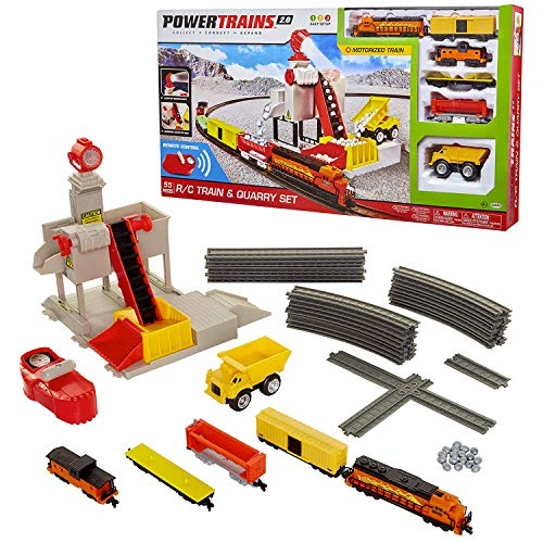 Power Trains R/C Train & Quarry Set, Motorized Electronic Train Set for Boys or Girls with 55 Pieces including Remote Control