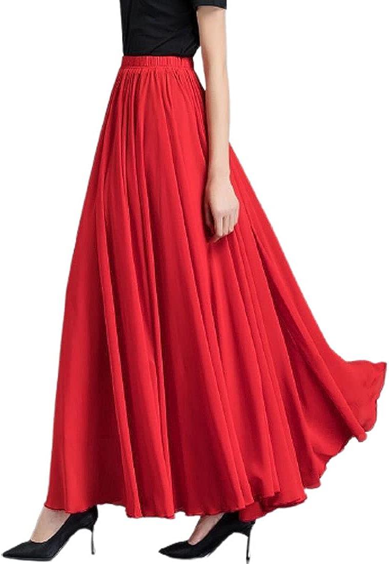 Globalwells Women Midi Chiffon Skirt Swing Boho Pleated Skirt Irregular Elastic A-line Long Skirts