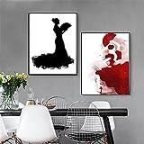 EspañOl SeñOra De La Lona Decoracion Marco De La Rojo Arte Cuadro Moderno Abstracto Negro Flamenco Bailarina Poster Hermosa con Vestido Arte Pintura Pared Inicio 40x50cmx2 No