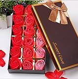 FunRun 18 Piezas Rose Jabones Perfumados en Caja de Regalo, Regalo Esenciales Jabón de Aceite para el Día de los Enamorados de Baño de Burbujas Regalo de San Valentín/Regalos de Boda Regalos (Rojo)