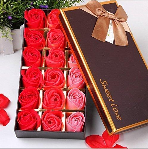 FunRun 18 Stücke Rosen-Duftseifen in Geschenk-Box, Konservierte Rosenduft Steigung-Farben-Badeseife Rose in Geschenkbox Bestes Geburtstags-Valentinstag-Geschenk (Rot)