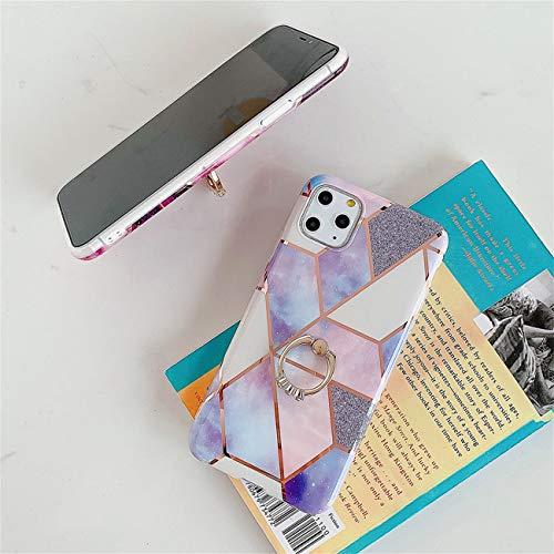 Bakicey iPhone 12 Pro Max Hülle, iPhone 12 Pro Max Marmor Handyhülle mit 360 Grad Ring Ständer Ultra Dünn Soft Silikon TPU Bumper Stoßfest Case Anti-kratzt Schutzhülle für iPhone 12 Pro Max, 23