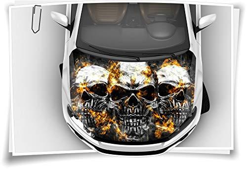 Motorhaube Auto-Aufkleber Totenkopf Skull Metall Feuer Rauch Steinschlag-Schutz-Folie Airbrush Tuning Car-Wrapping Luftkanalfolie Digitaldruck Folierung