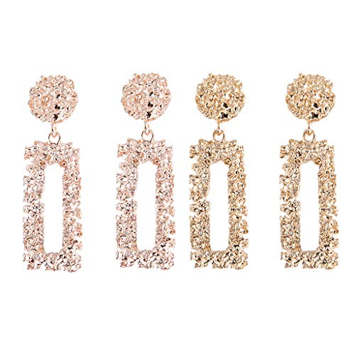 lahomia 2Pairs Women Geometric Dangle Hollow Out Stud Earrings
