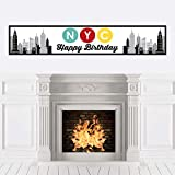 Big Dot of Happiness NYC Cityscape - New York City Happy Birthday Decorations Party Banner