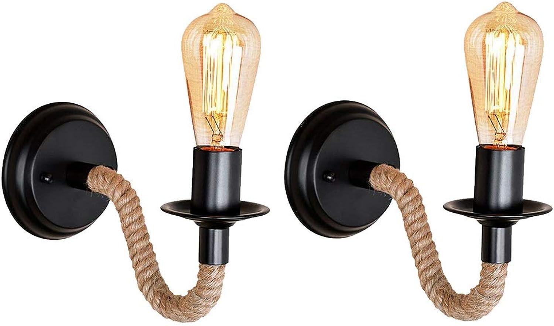 Vintage DIY Weben Hanfseil Wandleuchte, amerikanischen Retro Landhausstil Eisen Wandleuchte, personalisierte kreative Wohnzimmer Korridor Gang E27 Wandleuchte Beleuchtung (Design   2-pack)