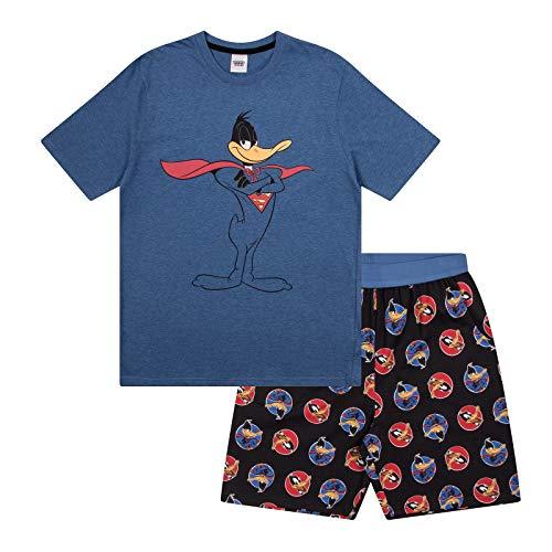 Looney Tunes - Herren Schlafanzug - kurz - mit Space Jam, Taz, Daffy Duck oder Elmer Fudd - Offizielles Merchandise - Blau - Daffy Duck - L