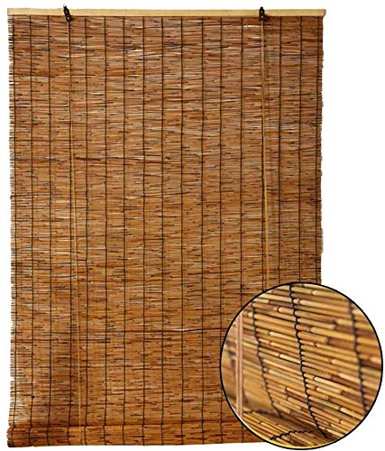 Persianas de rodillos de bambú, cortina de caña natural, material de protección ambiental natural, vintage Bamboo Roller Ciego con elevador, para al aire libre / patio, persianas de sombrilla, persona