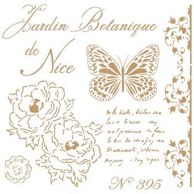 TODO-STENCIL Deco Vintage Composición 209 Botanique Nice. Medidas aproximadas: Medida Exterior 25 x 25 cm Medida del diseño: 21 x 21 cm