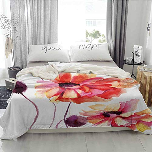 Floral Sherpa Fleece Blankets Microfiber Blankets for Beds Watercolor Painting Poppy Flowers and Buds Artistic Spring Nature Design Peach Scarlet Purple 60W x 80L inches