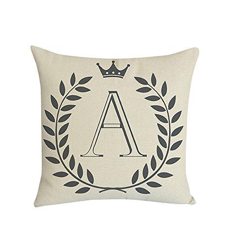 ZOUMOOL_ Pillow Cases 1 Funda de Almohada Decorativa con 26 Letras Impresas en la Cintura, para decoración del hogar, para el salón o el sofá