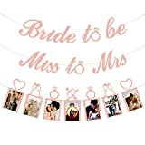 Rose Gold Bridal Shower Decorations - Miss to Mrs Banner, Bride to Be Banner and Photo Banner for Bachelorette/Wedding/Engagement/Bridal Shower Party Kit Supplies Decorations decor