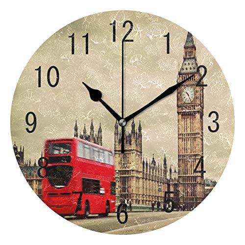 Domoko Home Decor Acryl Rund London Big Ben Red Bus Vintage Wanduhr Geräuschlos Silent Uhr Kunst für Wohnzimmer Küche Schlafzimmer