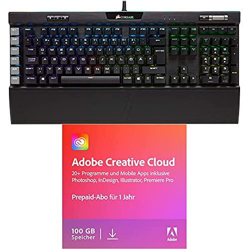 Corsair K95 RGB Platinum Mechanische Gaming Tastatur, Qwertz, schwarz + Adobe Creative Cloud All Apps | 1 Jahr | PC/Mac | Download