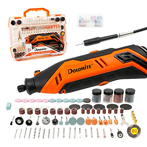 DOLOMITE Rotary Tool Kit with 190 Accessories, 6-Speed Variable Rotary, Flex Shaft, Safe Guard, Keyless Chuck, Multi-Tool Electric Drill Set for Crafting DIY -Grinder, Sander, Polisher and Engraver