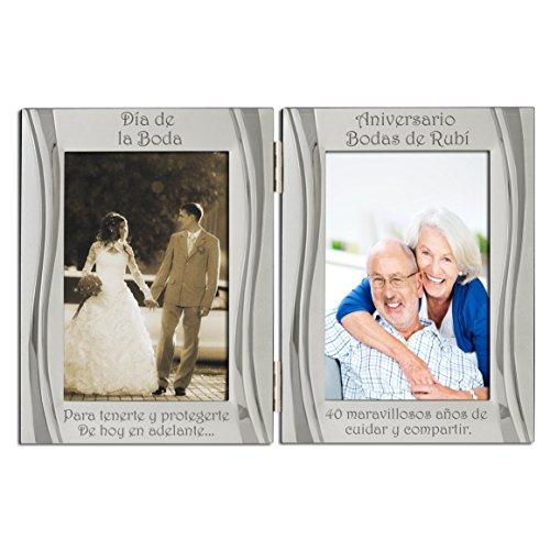 40 aniversario de rubí, chapado en plata, dorso de terciopelo, marco de marco de fotos doble, plata mate y brillante, de pie y con estructura articulada. Papel de regalo ruby y cinta. Regalo presente