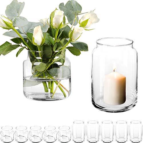 GIESSLE 12 Stück Dekoglas im Set mit [ 6X Kerzenglas und 6X Blumenvase ] Kerzenhalter Windlicht Glas groß Vase