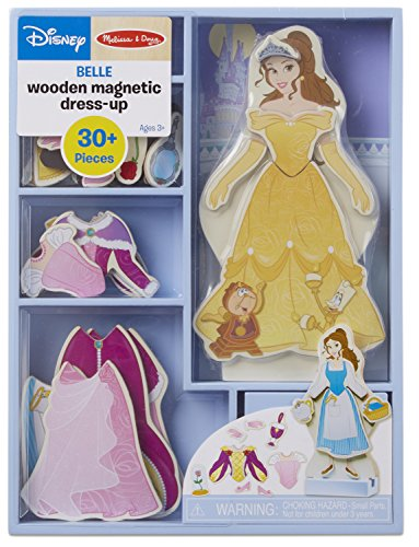 Melissa & Doug Disney Belle Magnetic Dress-Up Wooden Doll Pretend Play Set (30+ Pieces)