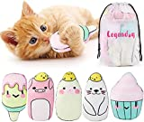 Legendog Catnip Toys for Cats Chew Toy - 5PCS Pillows Cat Toys for Indoor and Interactive Cat Soft Toy Catnip for Kitten Cat Teething Toys with Adorable Animal Face