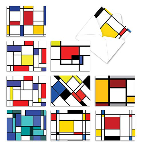 The Best Card Company - 10 Boxed Greeting Cards Blank (4 x 5.12 Inch) - Bulk All Occasion Card Assortment - Cubism M3039