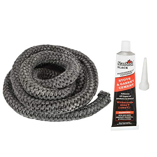 Stanbroil Graphite Impregnated Fiberglass Rope Seal and High Temperature Cement Gasket Kit Replacement for Wood Stoves - 3/4' x 84'