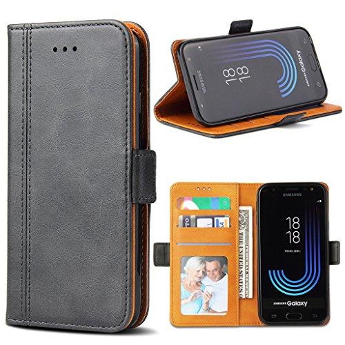 Bozon Galaxy J5 2017 Hülle, Leder Tasche Handyhülle für Samsung Galaxy J5 Duos (2017) Schutzhülle mit Ständer & Kartenfächer/Magnetverschluss (Dunkel-Grau)