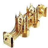 piececool Puzle de metal 3D cortado con láser tradicional famoso mundial, modelo de arquitectura para adultos, de la torre de Londres, 65 piezas, color dorado