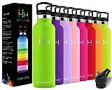 HoneyHolly Botella de Agua Acero Inoxidable sin BPA 350ml/500ml/600ml/750ml, Aislamiento de Vacío de Doble Pared, Botellas Frío/Caliente, Reutilizable para Niños, Colegio, Sport, Gimnasio, Bicicleta
