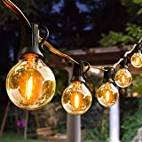 Outdoor String Lights,100ft with 62 Dimmable G40 LED Clear Bulbs UL Approval Waterproof Globe String Lights 1W 2700K Outdoor Lighting for Backyard Porch Cafe Party Wedding Garden (100ft)