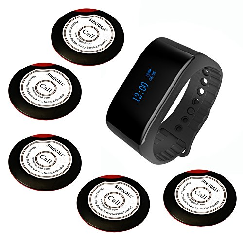 SINGCALL Wireless Calling System Waiter Service System, for Bank Restaurant Cafe Restaurant Hospital Factory Office, 5 Buttons 1 Waterproof Watch