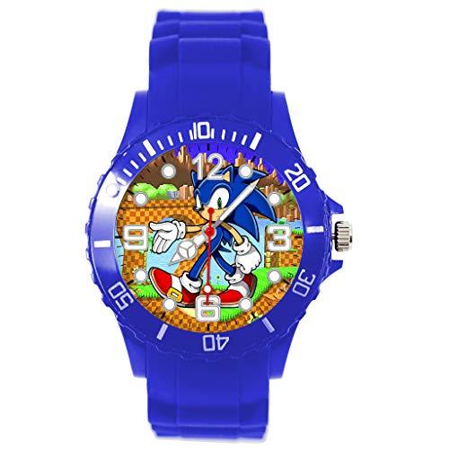 Taport® Quarzuhr blau Silikon für Sonic The Hedgehog Fans E1