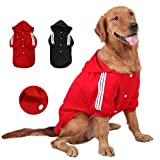 GabeFish Large Dogs Plain Button Hoodie Fleece Pets Hooded Jacket Coats for Golden Labrador Retriever Pitbull Red 6X-Large