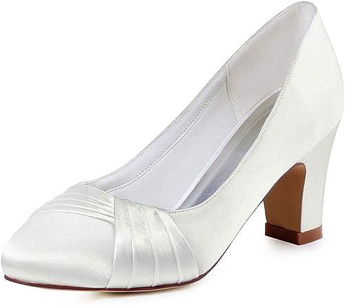 Qiusa Ladies Knot Chunky Med Heel Slip-on Slip-on Slip-on Satin Pompes De Soirée De Mariage (Couleuré   Ivory-6cm Heel, Taille   5.5 UK) edb